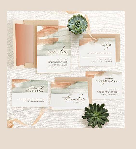 green and peach brushstroke wedding stationary