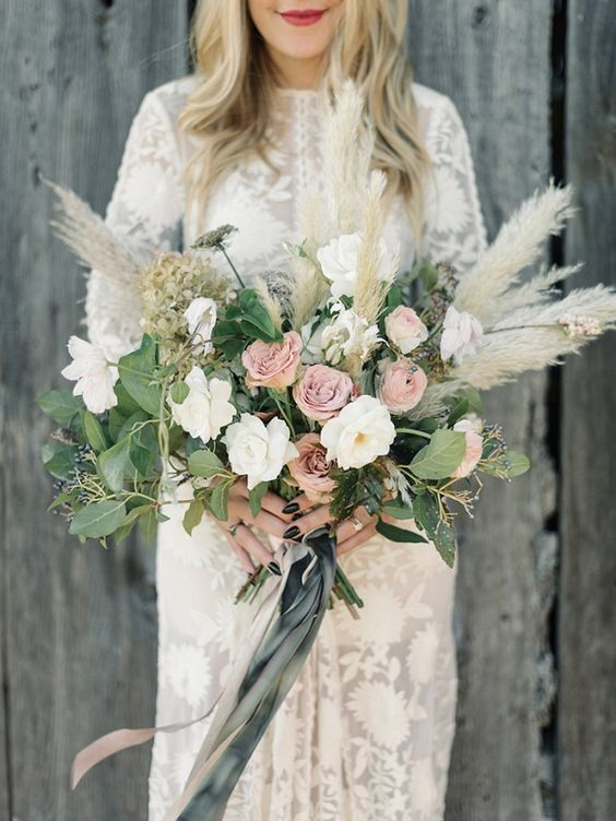 neutral flowers, greenery and pampas for a unique look