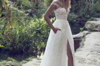 29 off the shoulder wedding dress with a high slit and pockets