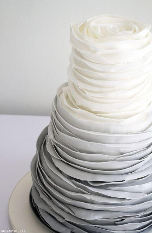 ombre creamy to dove grey layer wedding cake