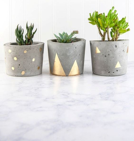 concrete and gold pots with various succulents for decor or favors
