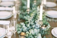 30 lush eucalyptus table garland with candles