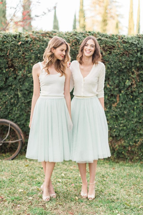 mint tulle midi skirts and ivory tops and cardigans