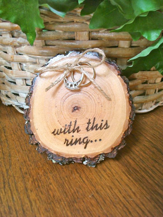 rustic wedding ring plate