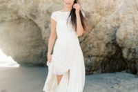 30 silk and lace cap sleeve wedding dress wwith a slit