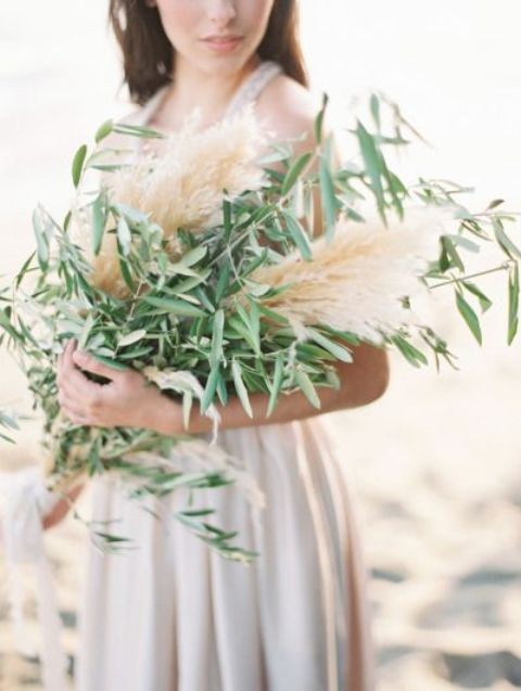 wheat and olive branch bouquet