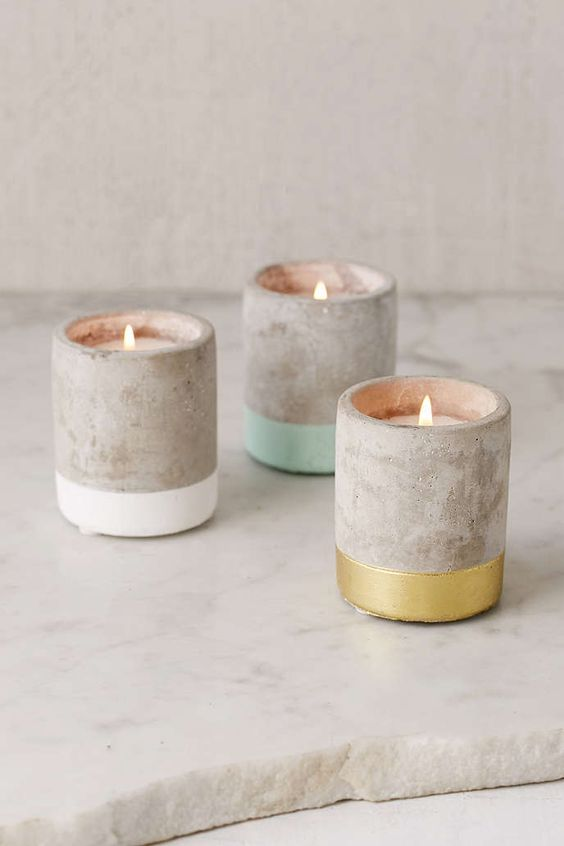 concrete candles can be a great idea for a modern wedding