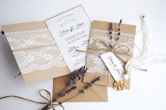 kraft paper, lace, twine and lavender stationary for a rustic wedding