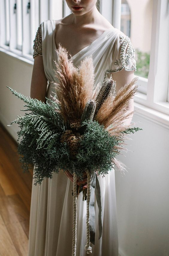 wheat, pampas grass and dried flowers for a wedding bouquet