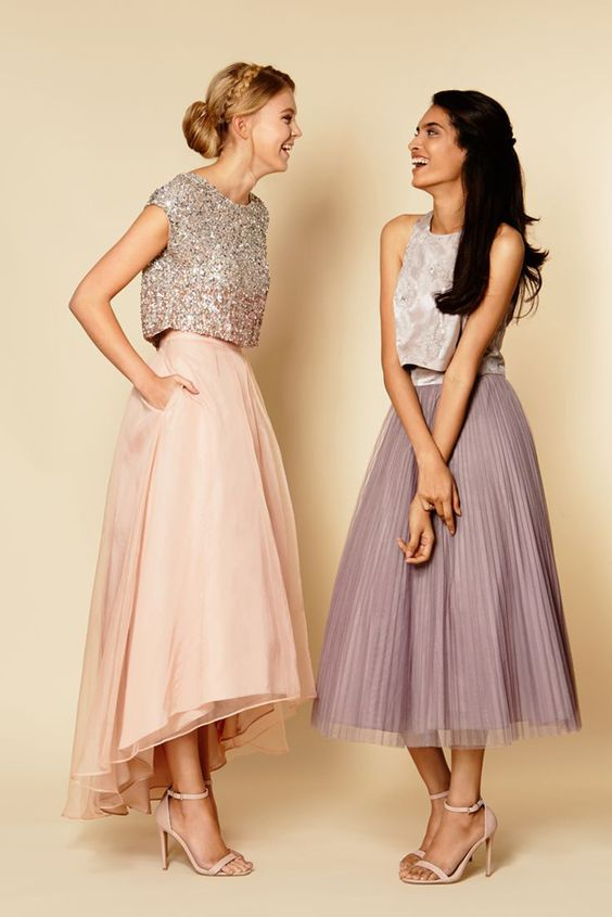 a midi high low blush skirt with a sequin top and a midi purple pleated skirt with a silver top