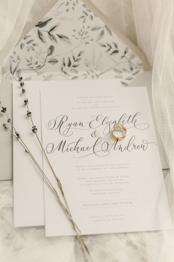 neutrals are always great, here neutral invites with calligraphy