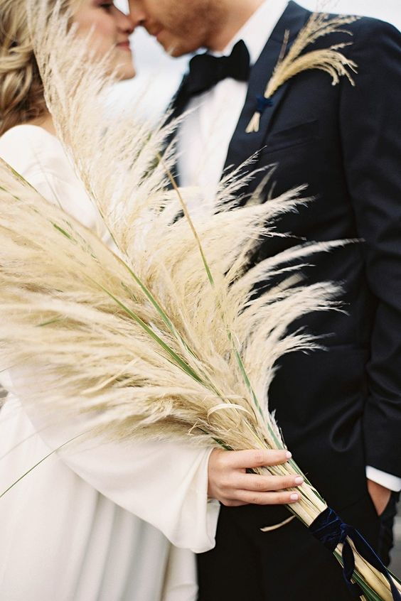 pampas grass with velvet ribbon is perfection