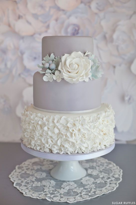 dove grey and white wedding cake