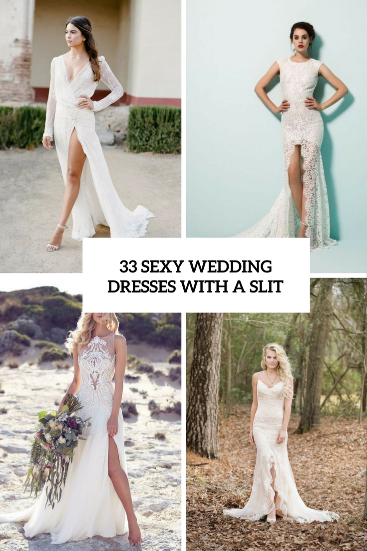 e1a77eea9e5 33 Sexy Wedding Dresses With A Slit – OBSiGeN