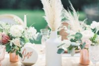 34 boho tablescape with pampas grass and copper details