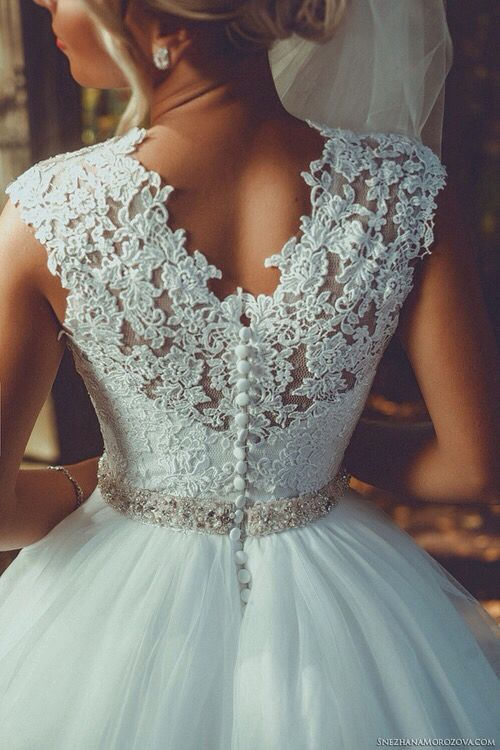 lace V-back wedding dress with fabric buttons