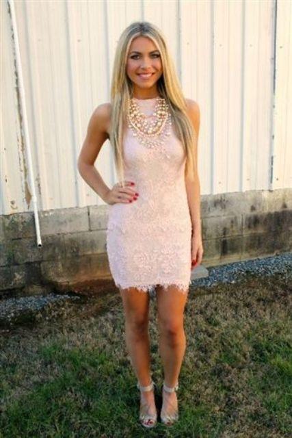 sleeveless blush lace mini dress