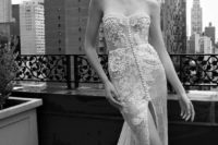 34 sweetheart sheath wedding dress with buttons and a high slit