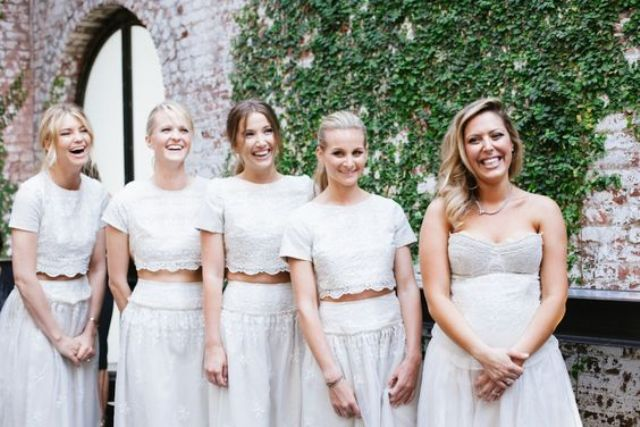 white lace bridesmaids' separates with crop tops
