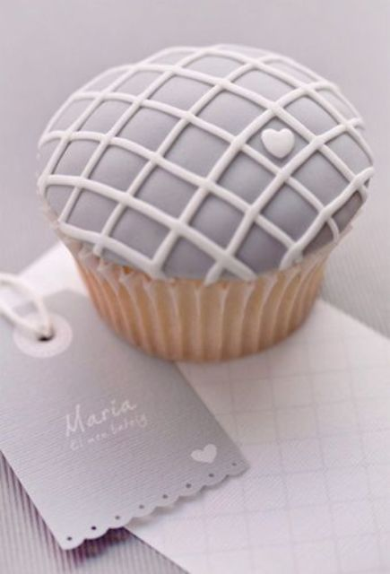 dove grey cupcake with a heart