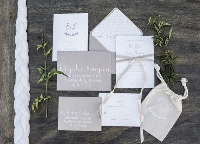 rustic white and grey invites look stylish and simple