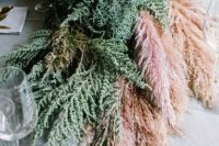 36 greenery and pampas wedding table runner