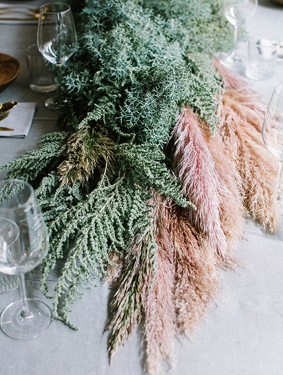 greenery and pampas wedding table runner