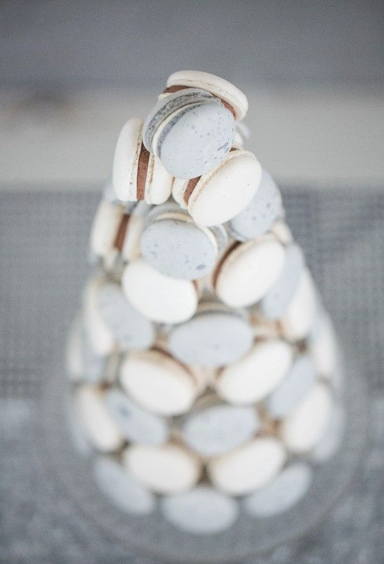 ivory and dove grey macaron tower instead of a traditional wedding cake