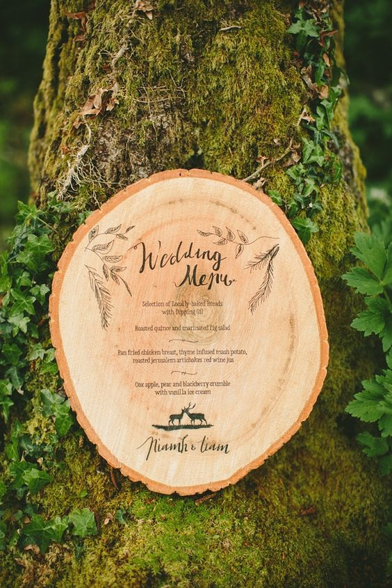 wood slice wedding menu burnt