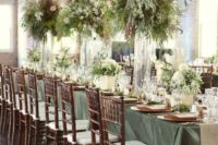 37 oversized tall vases with greenery and pampas for centerpiece