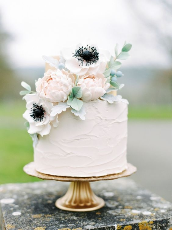 frosted neutral cake with blush flowers on top
