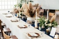 39 pampas grass centerpieces mixed with greenery and flowers