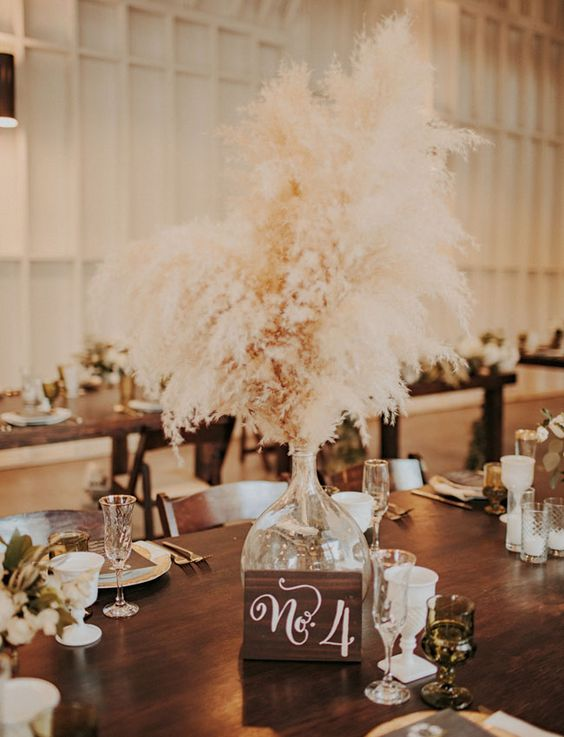 pampas grass centerpiece with a table number