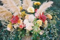 43 gorgeous lush arrangement with colorful flowers and pampas
