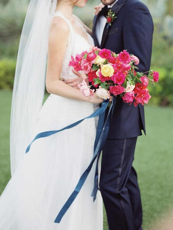 Hot Pink And Navy Wedding Shoot Inspired By Barcelona