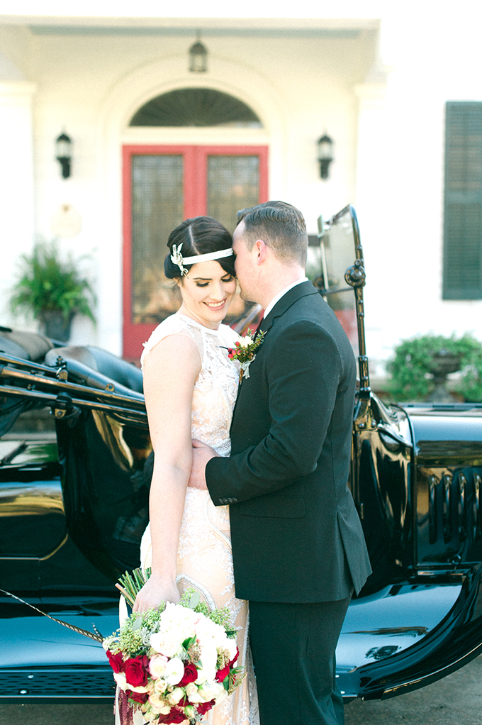 Elegant 1920s Wedding Shoot With A Blush Wedding Dress