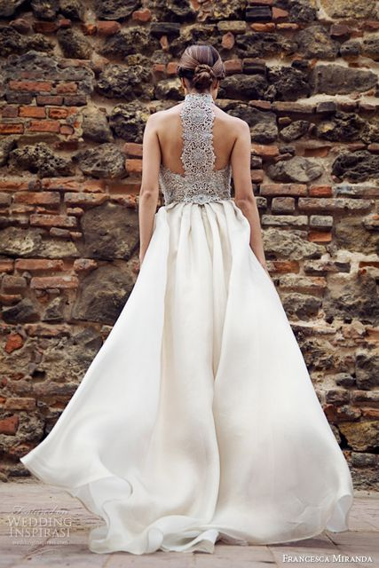 A-line wedding gown with a flowy skirt and a grey lace racerback
