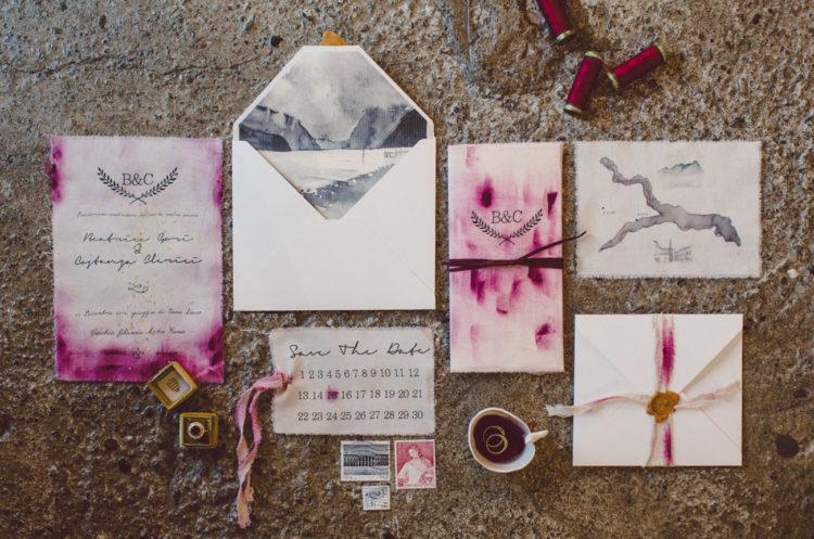 Adorable magenta watercolor wedding stationary suite