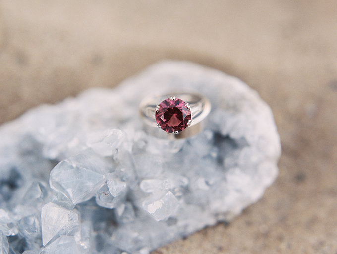 The shoot is full of unexpected colors like pink, burgundy and dark purple