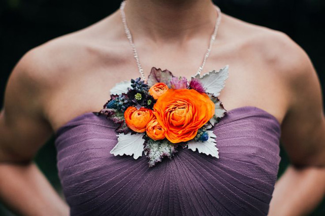 a bold floral detail for a bridesmaid's dress