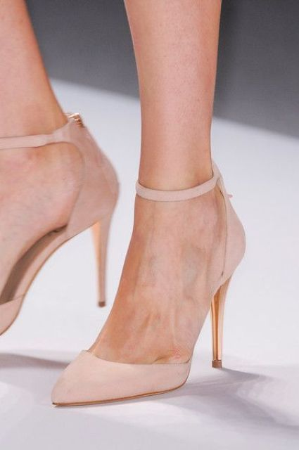 blush suede ankle strap shoes look soft and delicate