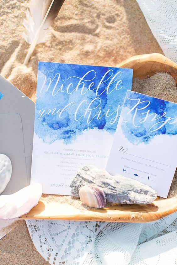 bold blue watercolor invitations with calligraphy
