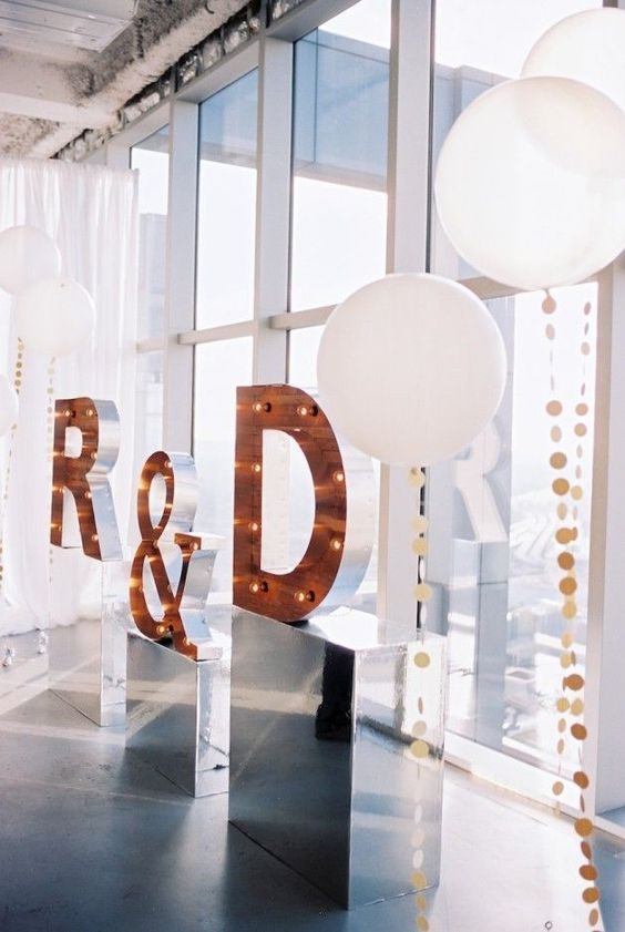 copper monogram marquee letters for the wedding backdrop