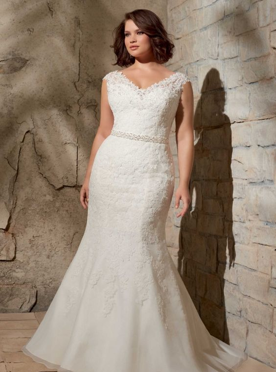 V-neck lace applique mermaid wedding dress with a jeweled belt