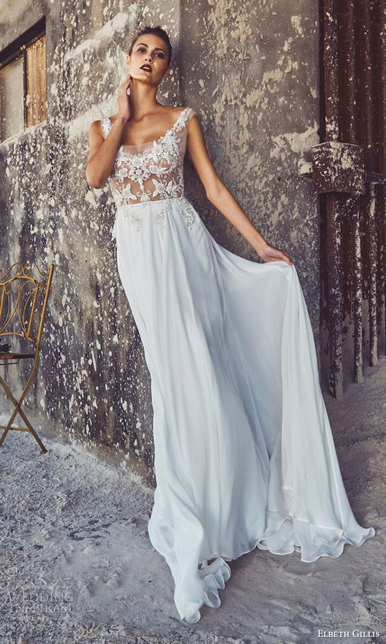 cap sleeves, illusion bodice scoop neck wedding dress