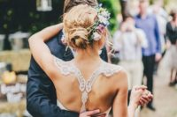 03 delicate lace racerback with a bow for a boho laid-back bride