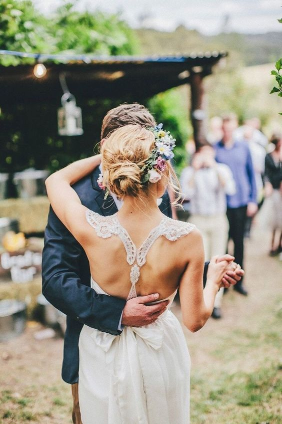 delicate lace racerback with a bow for a boho laid-back bride