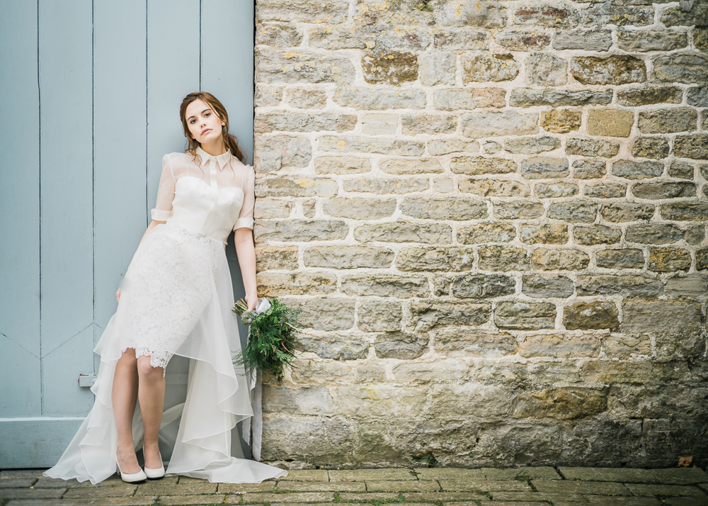 Bridal separate with a modest short sleeve bodice and a lace skirt plus a tulle skirt over it