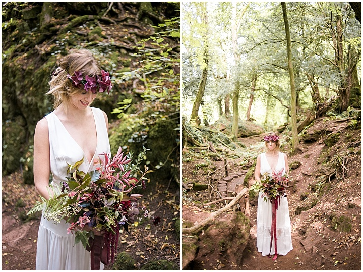 Such dark and moody shades can be easily used for a fall woodland wedding