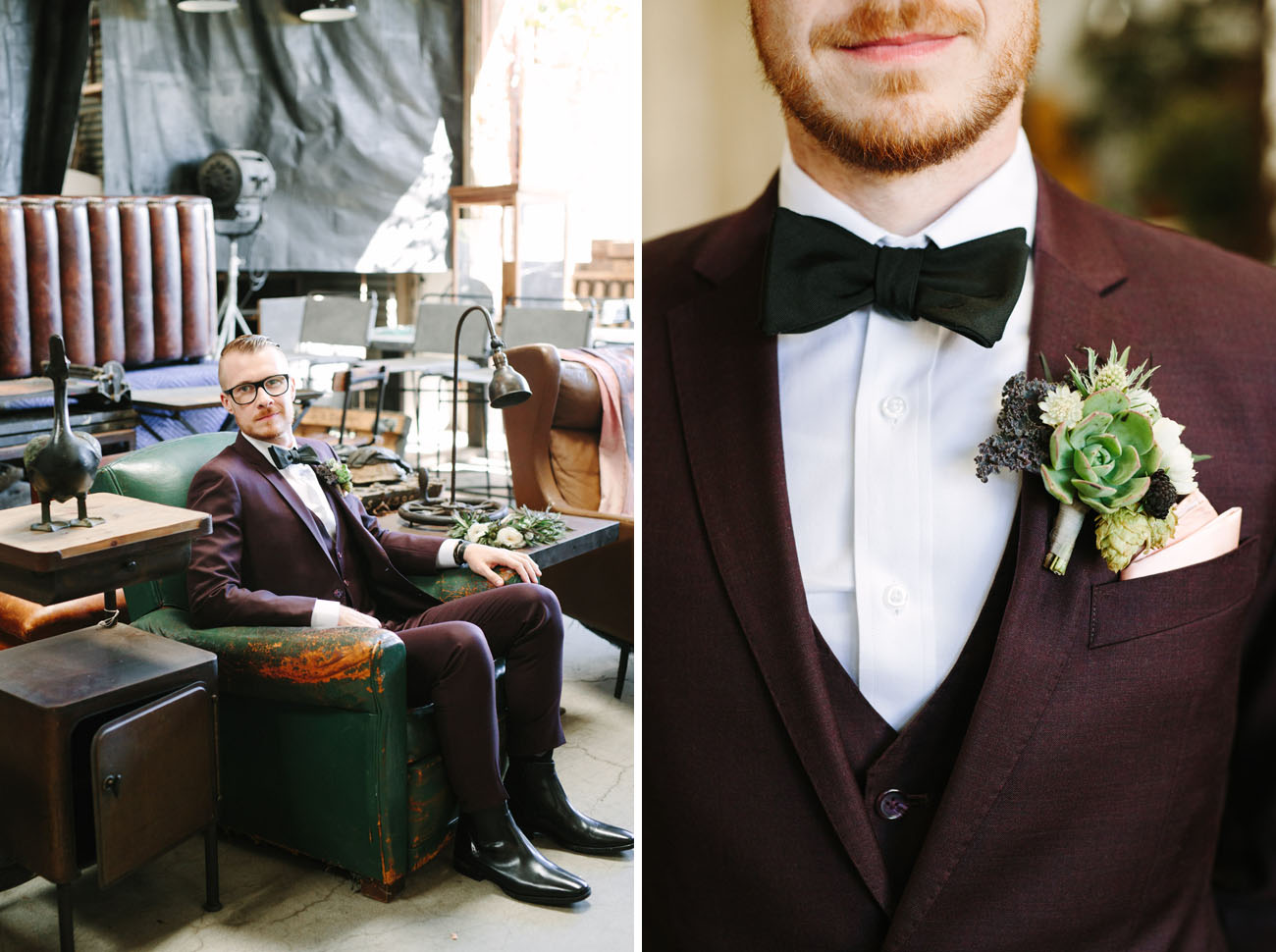The groom was wearing a chic suit from The Black Tux in burgundy shade